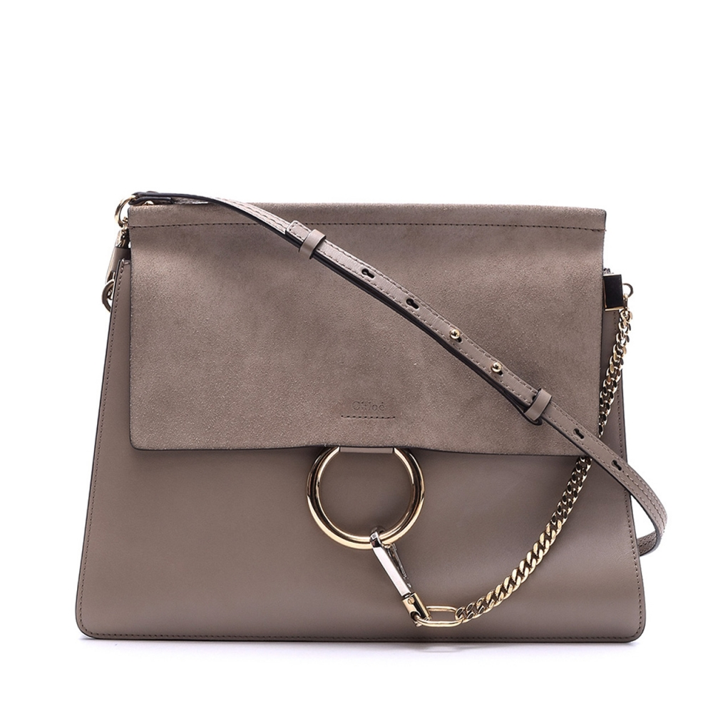 CHLOE - GREY LEATHER AND SUEDE MEDIUM FAYE MESSENGER BAG