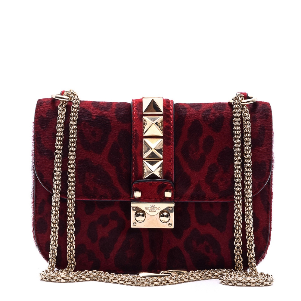 VALENTINO - PONYHAIR  LEATHER SMALL  ROCKSTUD FLAP BAG