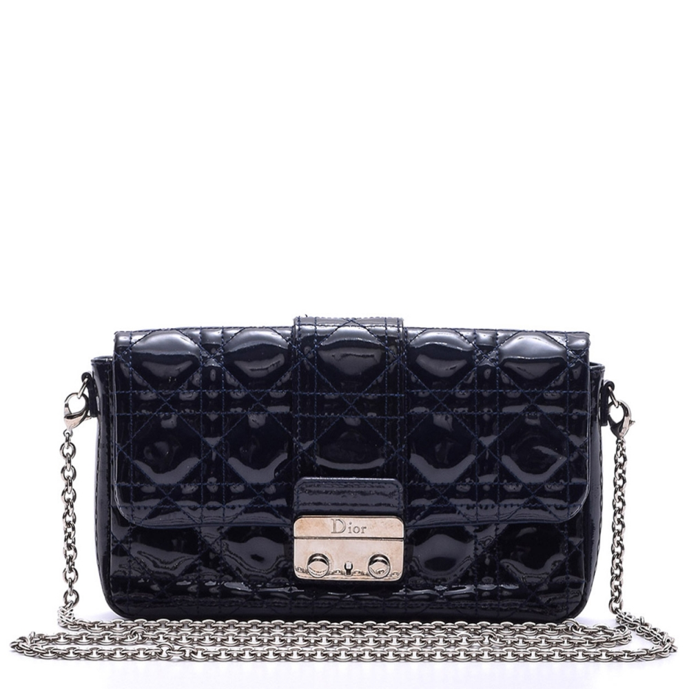 CHRISTIAN DIOR - NAVY BLUE PATENT CANNAGE QUILTED LEATHER MISS DIOR SMALL MESSENGER BAG