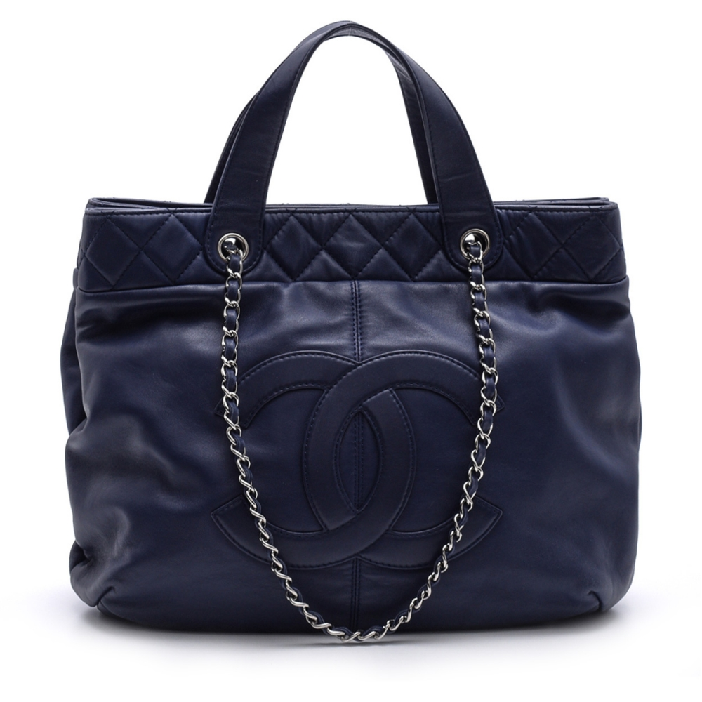 CHANEL - NAVY BLUE  QUILTED LAMBSKIN LEATHER TOTE BAG
