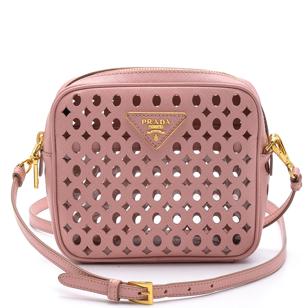 Prada -  Pink Saffiano  Leather  Cutout Mini Crossbody  Bag