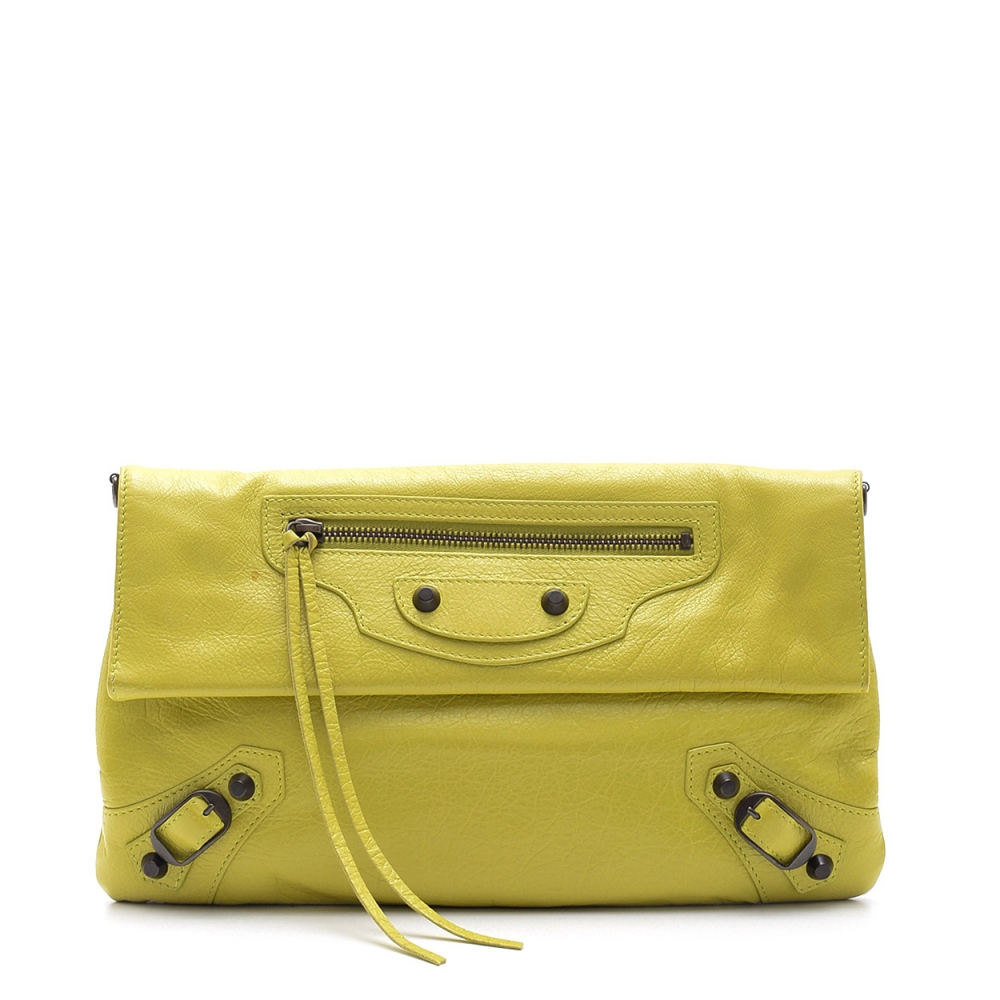 BALENCIAGA - LEMON  CALFSKIN LEATHER MOTORCYCLE ENVELOPE CLUTCH