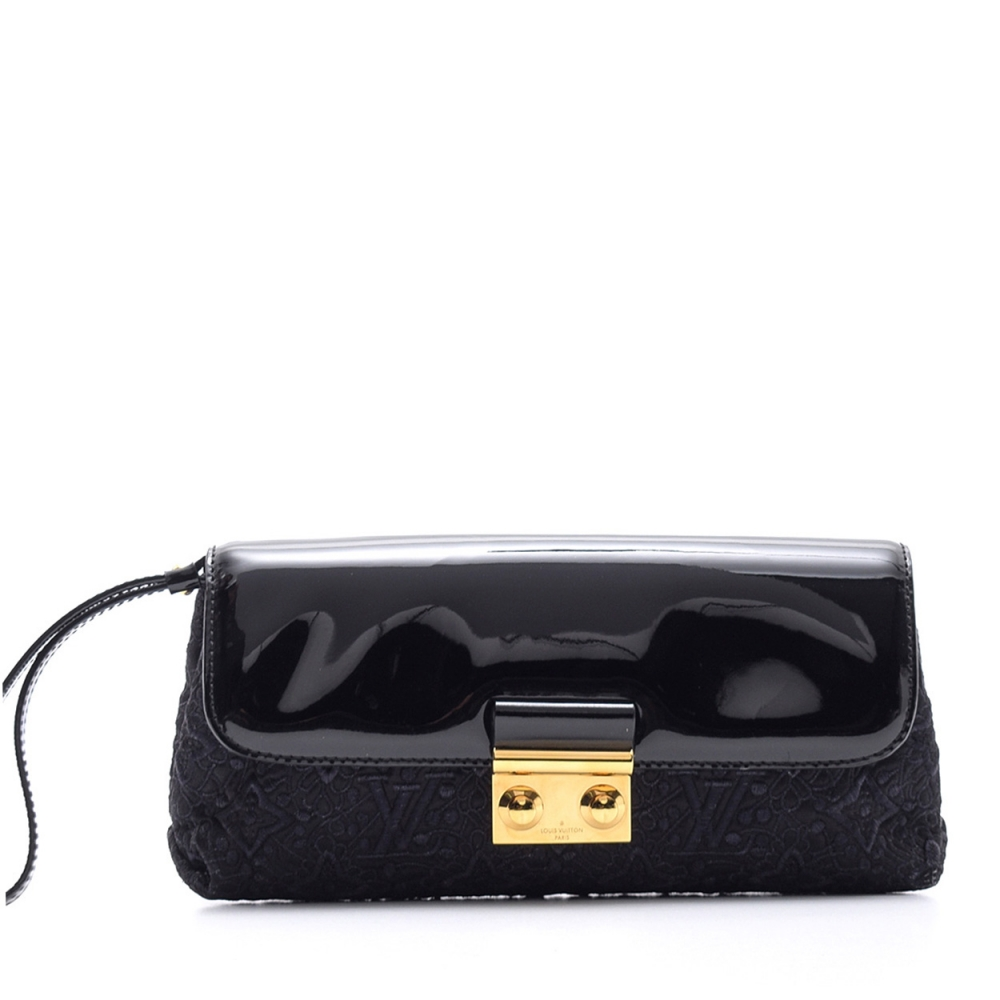 Louis Vuitton - Monogram Black Patent Leather and Dantelle Fabric Clutch