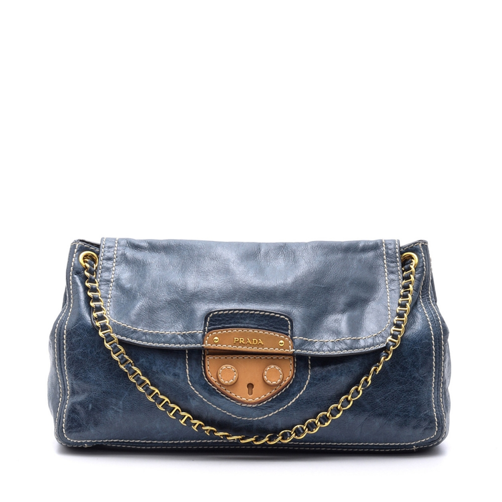 Prada -  Blue Lambskin Leather Chain Shoulder Bag