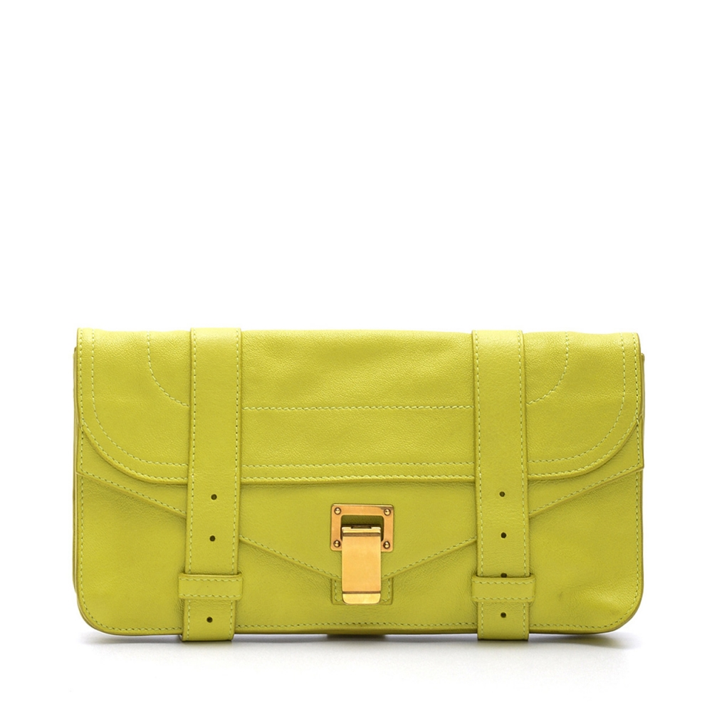 PROENZA SCHOULER - LEMON YELLOW LEATHER PS1 POCHETTE CLUTCH BAG
