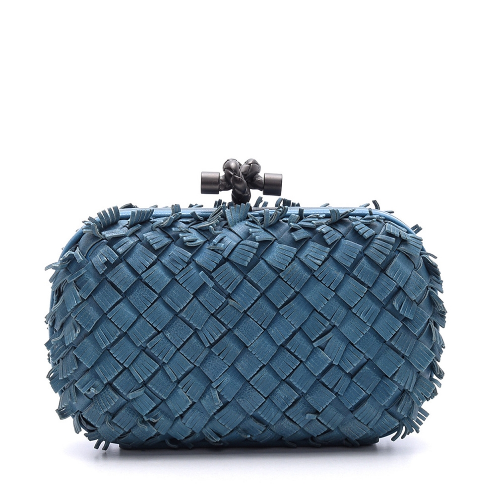 BOTTEGA VENETA - BLUE INTRECCIATO LEATHER KNOT CLUTCH BAG