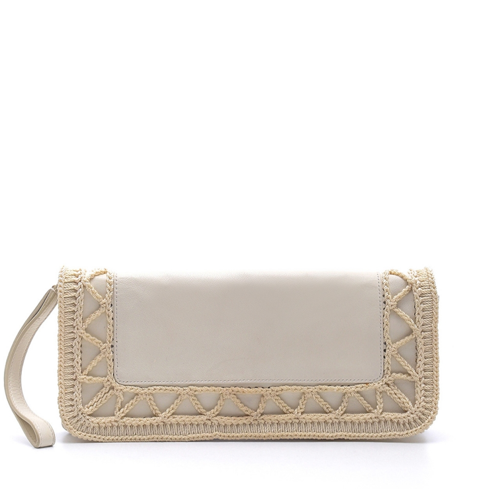 Yves Saint Laurent - White Leather Clutch