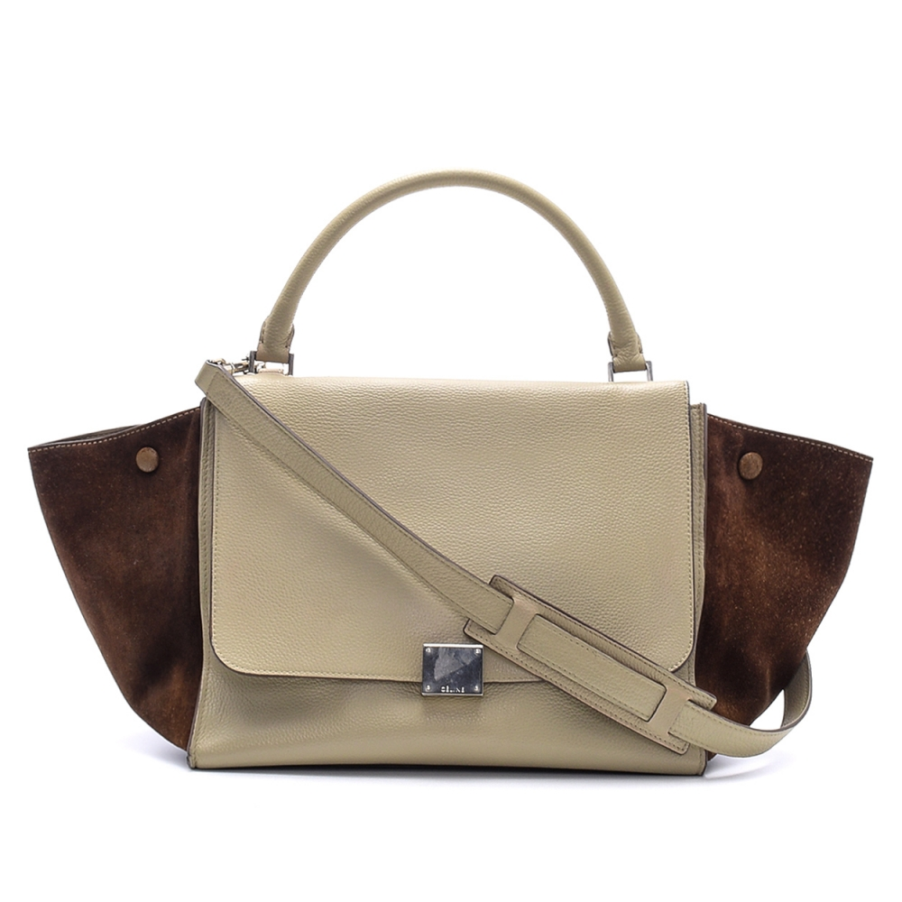 Celine - Cream  Leather and Brown  Suede Medium Trapeze Bag