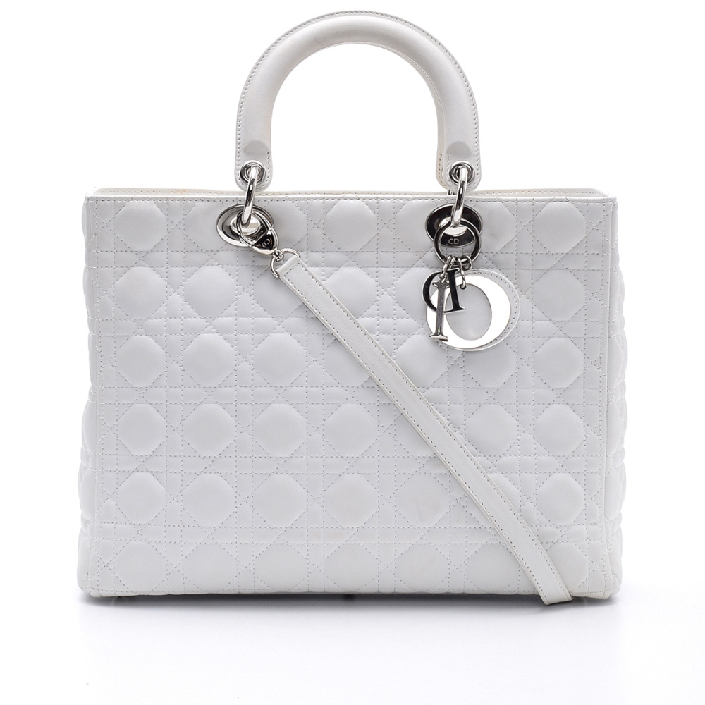 Christian Dior - White Cannage Lambskin Leather Lady Dior Medium Bag