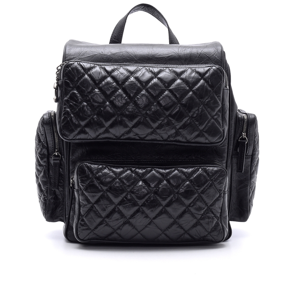 CHANEL -  BLACK  QUILTED CALFSKIN  LEATHER BACKPACK BAG