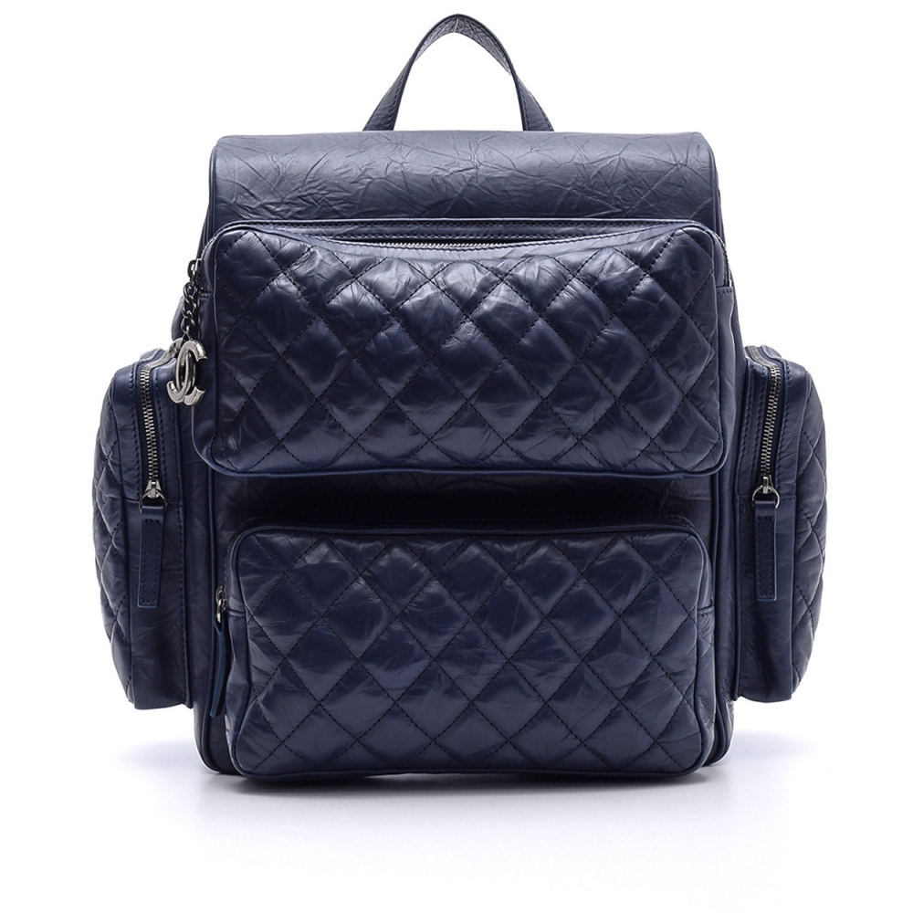 CHANEL -  NAVY BLUE   QUILTED CALFSKIN  LEATHER BACKPACK BAG