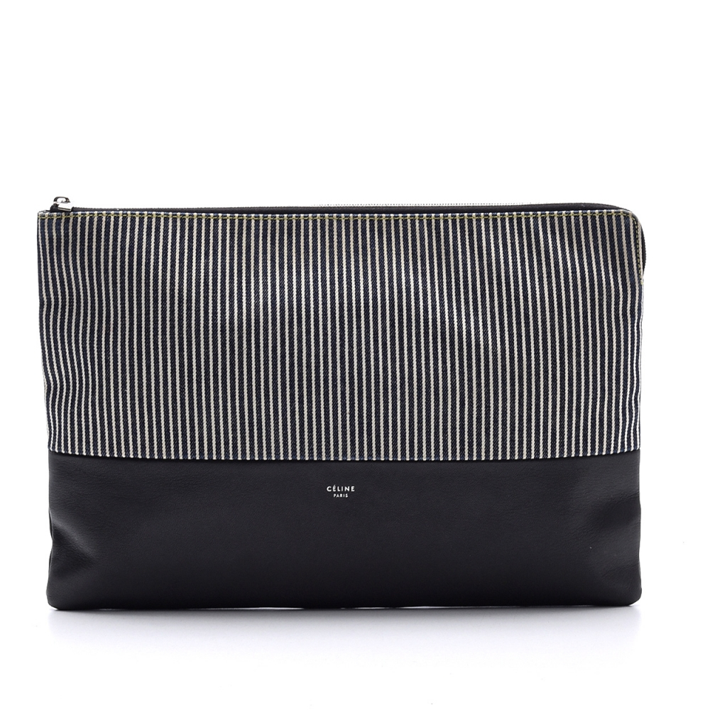 CELINE - SOLO STRIPED LEATHER ZİPPER POUCH BAG