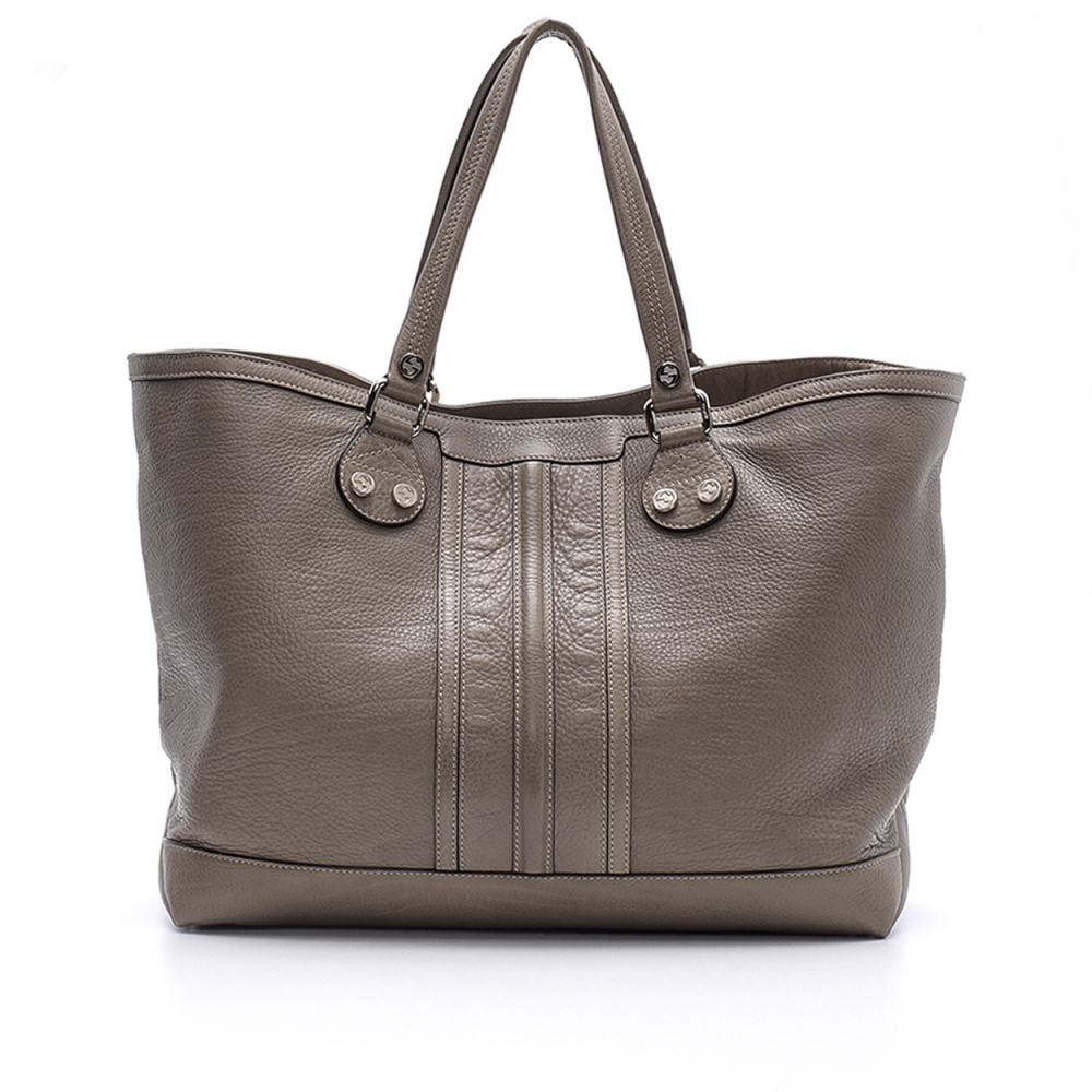 Gucci -  Etoupe Grained Leather Shopper Tote Bag