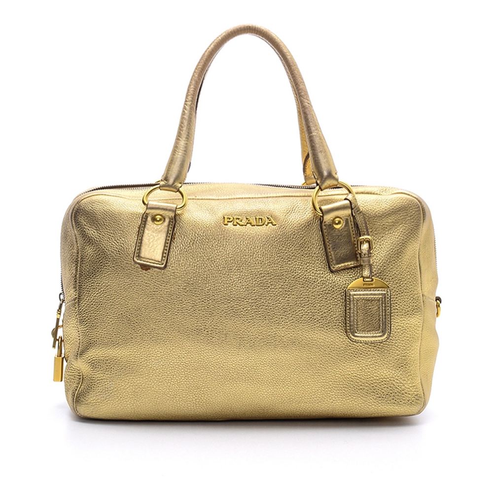 Prada - Gold  Daino Vitello Leather Shopper  Tote Bag