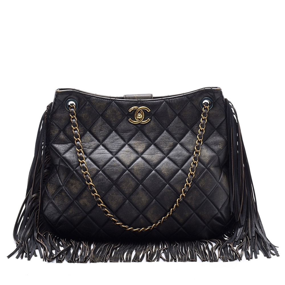 CHANEL -   BLACK QUILTED LAMBSKIN LEATHER FRINGE SHOULDER BAG