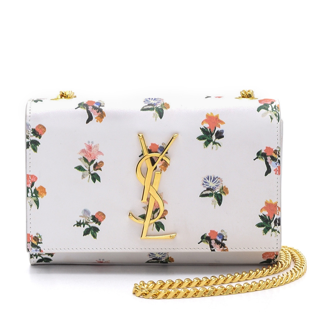 Yves Saint Laurent - White  Leather Floral Print  Kate Tassel Mini  Flap Bag
