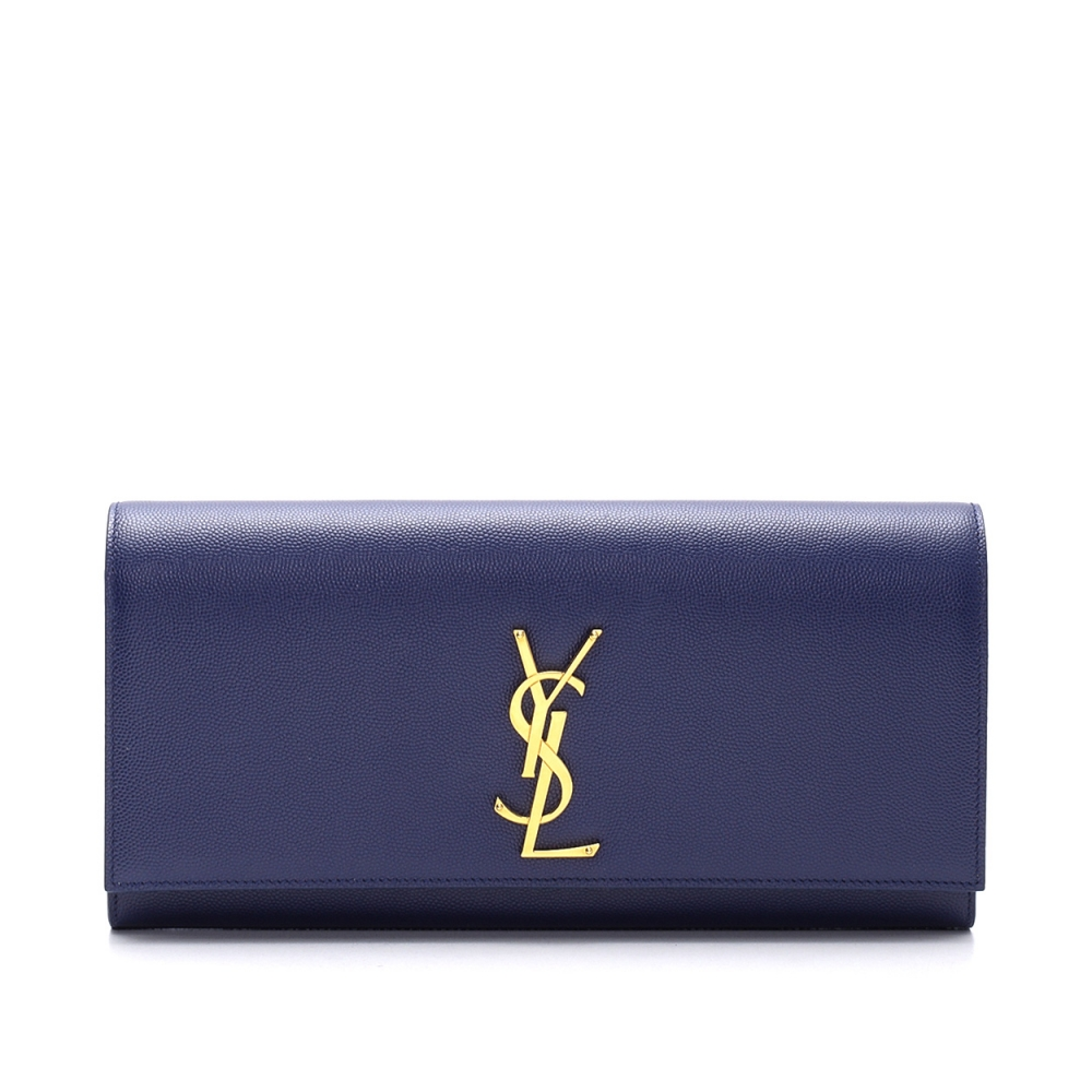Yves Saint Laurent - Navy Blue Monogram Grained  Leather   Clutch Bag