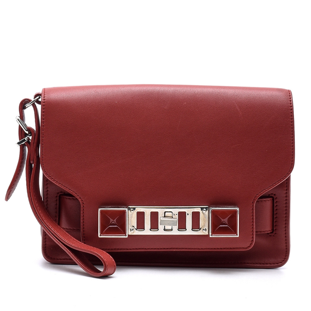 Proenza Schouler - Bordeaux  Leather PS11 Wristlet  Clutch Bag