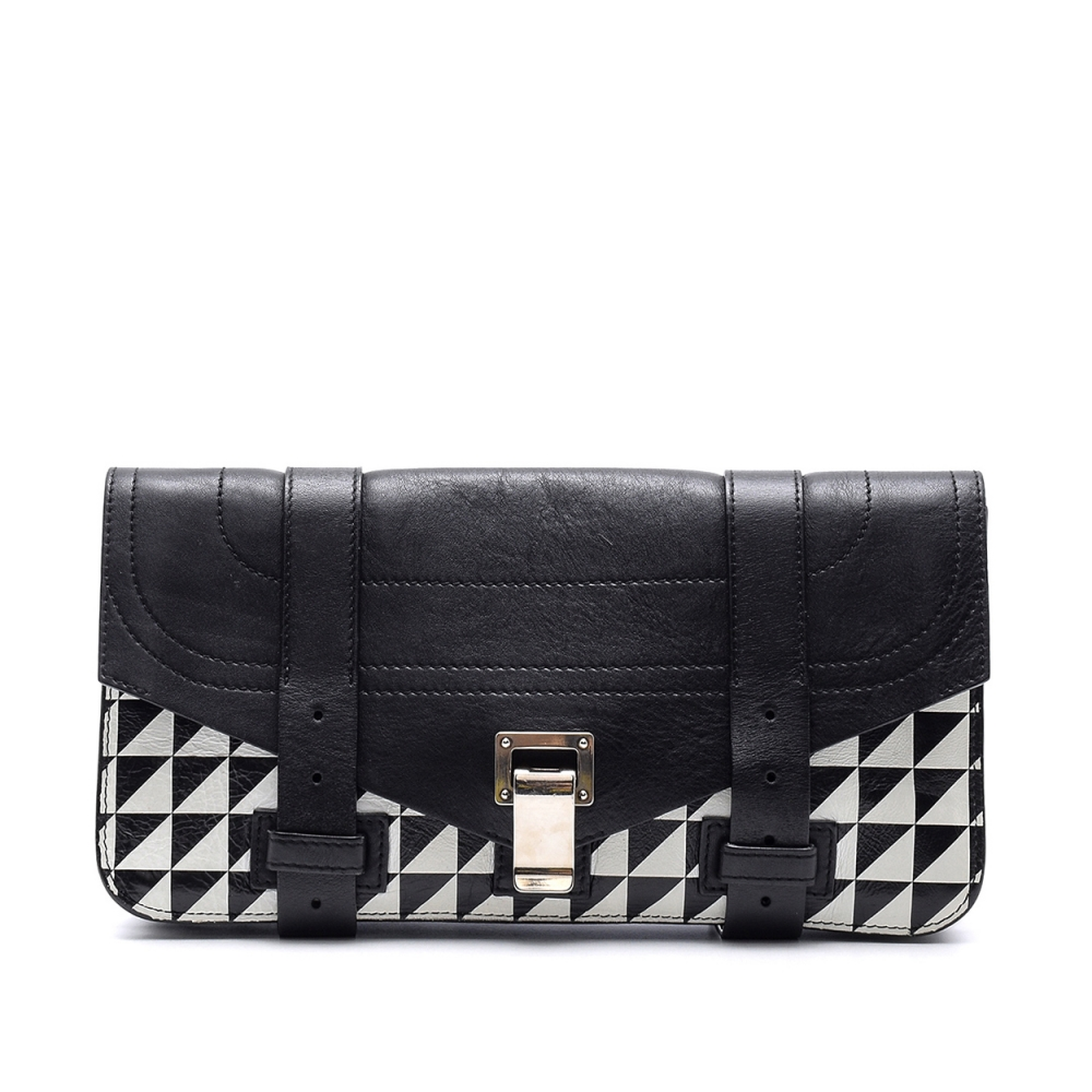 Proenza Schouler - Black&white  Leather Ps1 Pochette Triangle Print  Clutch Bag