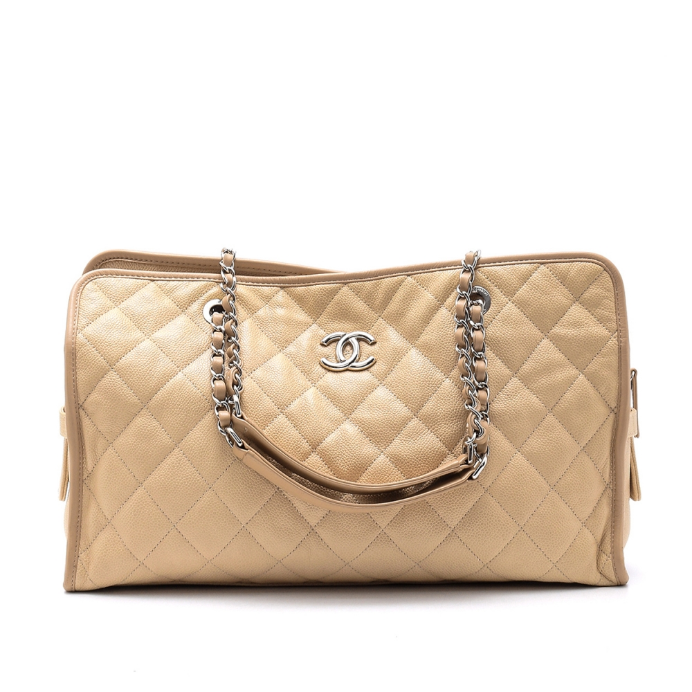 Chanel - Beige Quilted Caviar Leather   Shopping Tote Bag