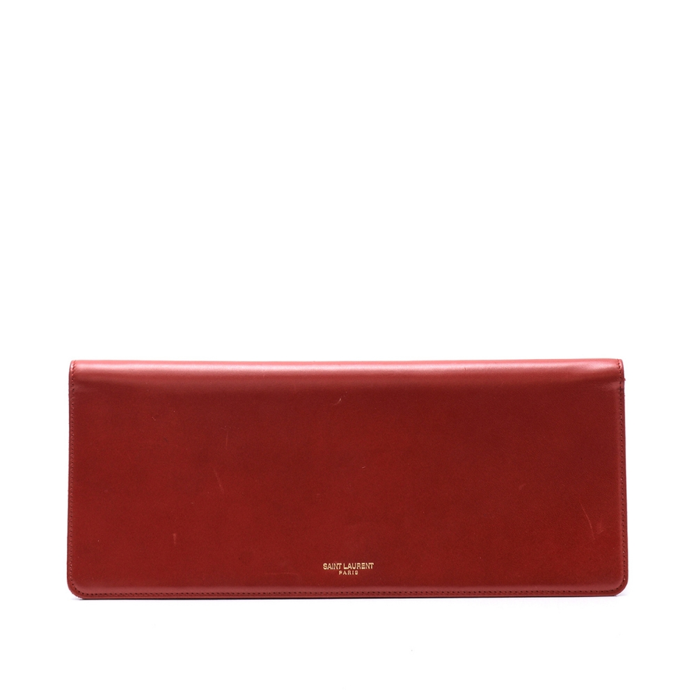 Yves Saint Laurent - Red Leather Long Clutch
