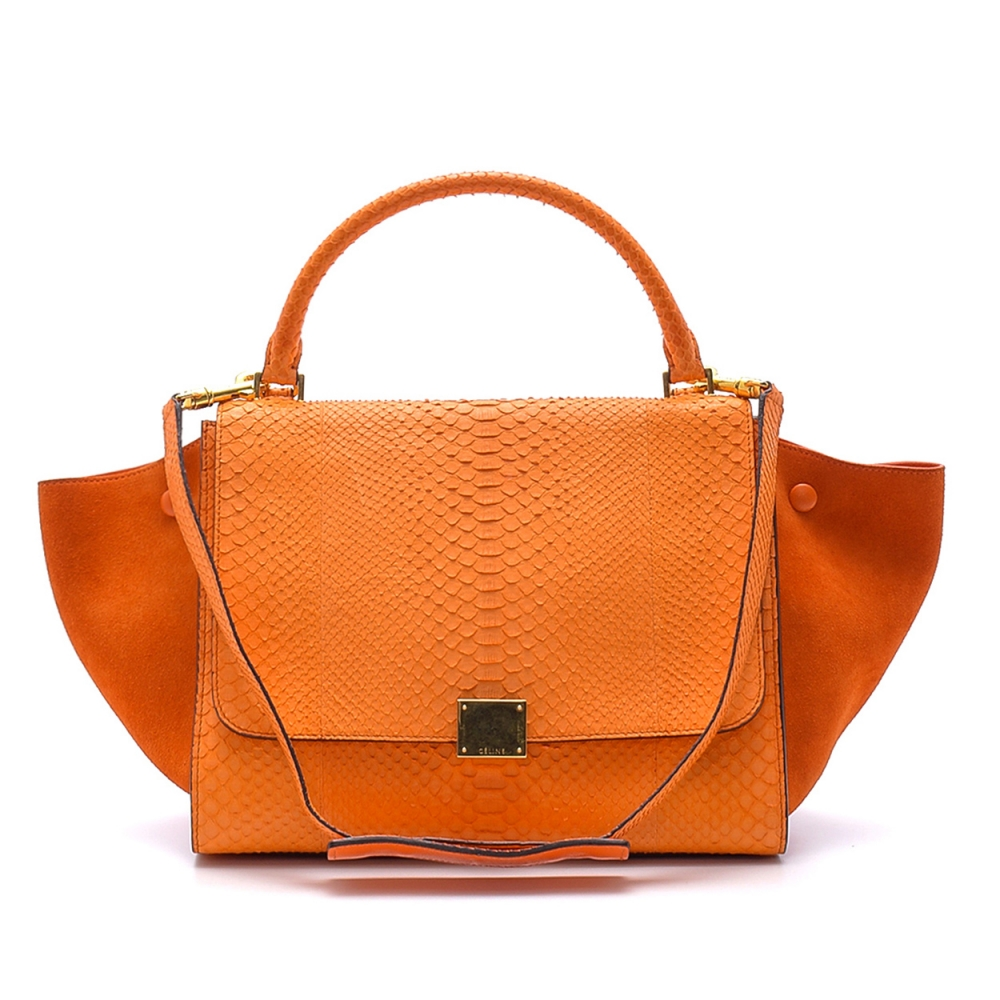 Celine - Coral Python Leather Small Trapeze Bag