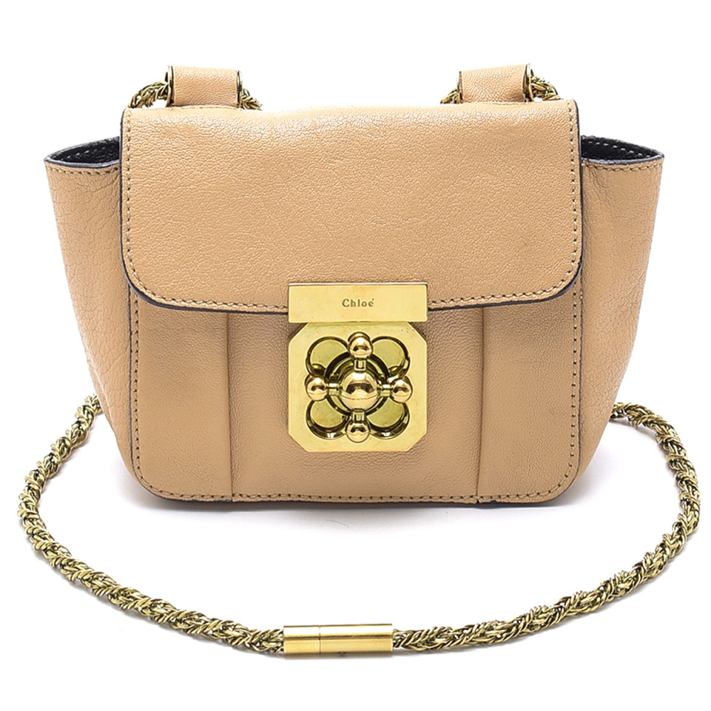Chloe -  Nude Leather Elsie Chain Mini Shoulder Bag