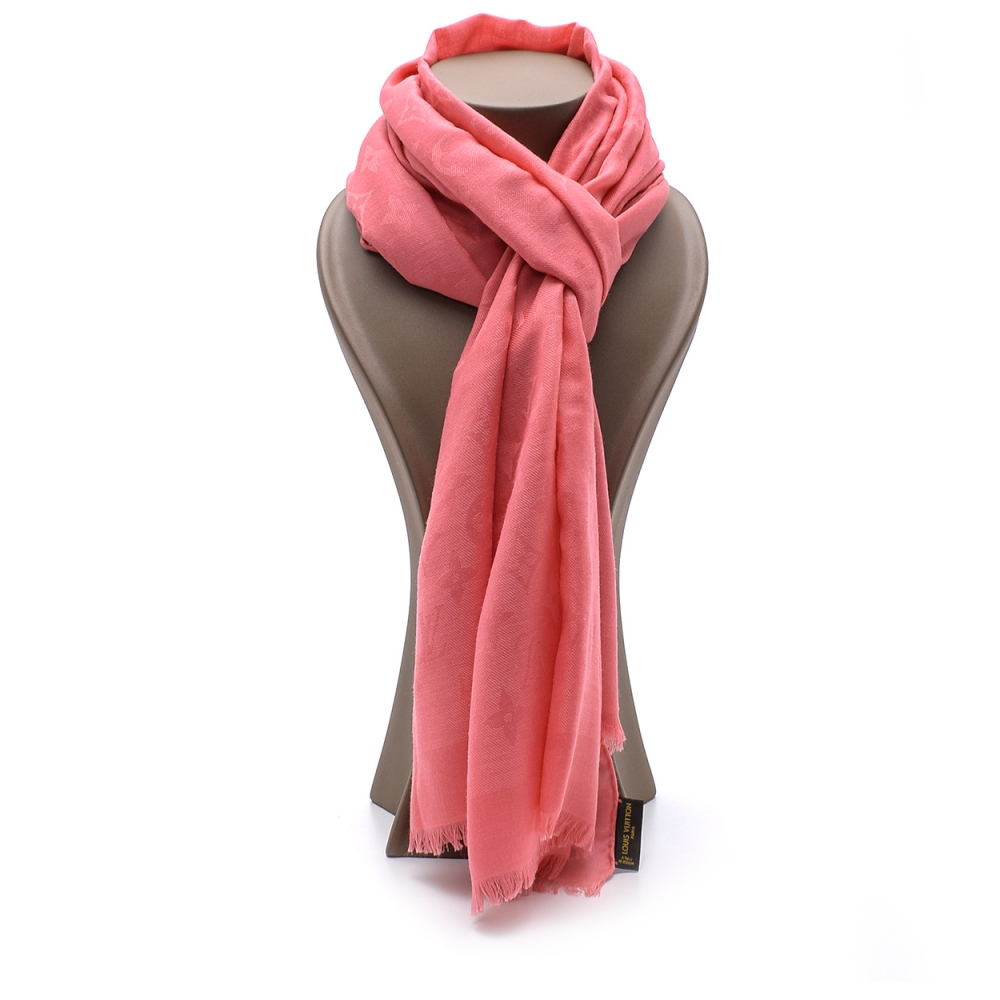 Louis Vuitton - Pink Silk Monogram Classic Shawl