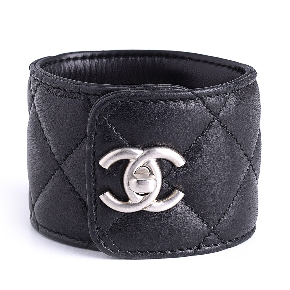 Chanel - Black Quilted Leather Cc Turnlock Cuff Bracelet
