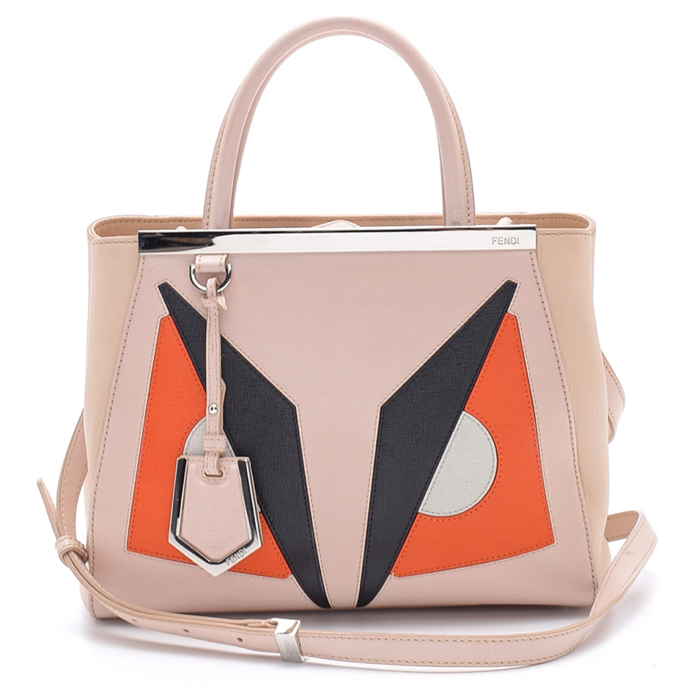 Fendi - Soft Pink Saffiano Leather Monster Eyes Petite Sac 2jours Small Elite Tote Bag