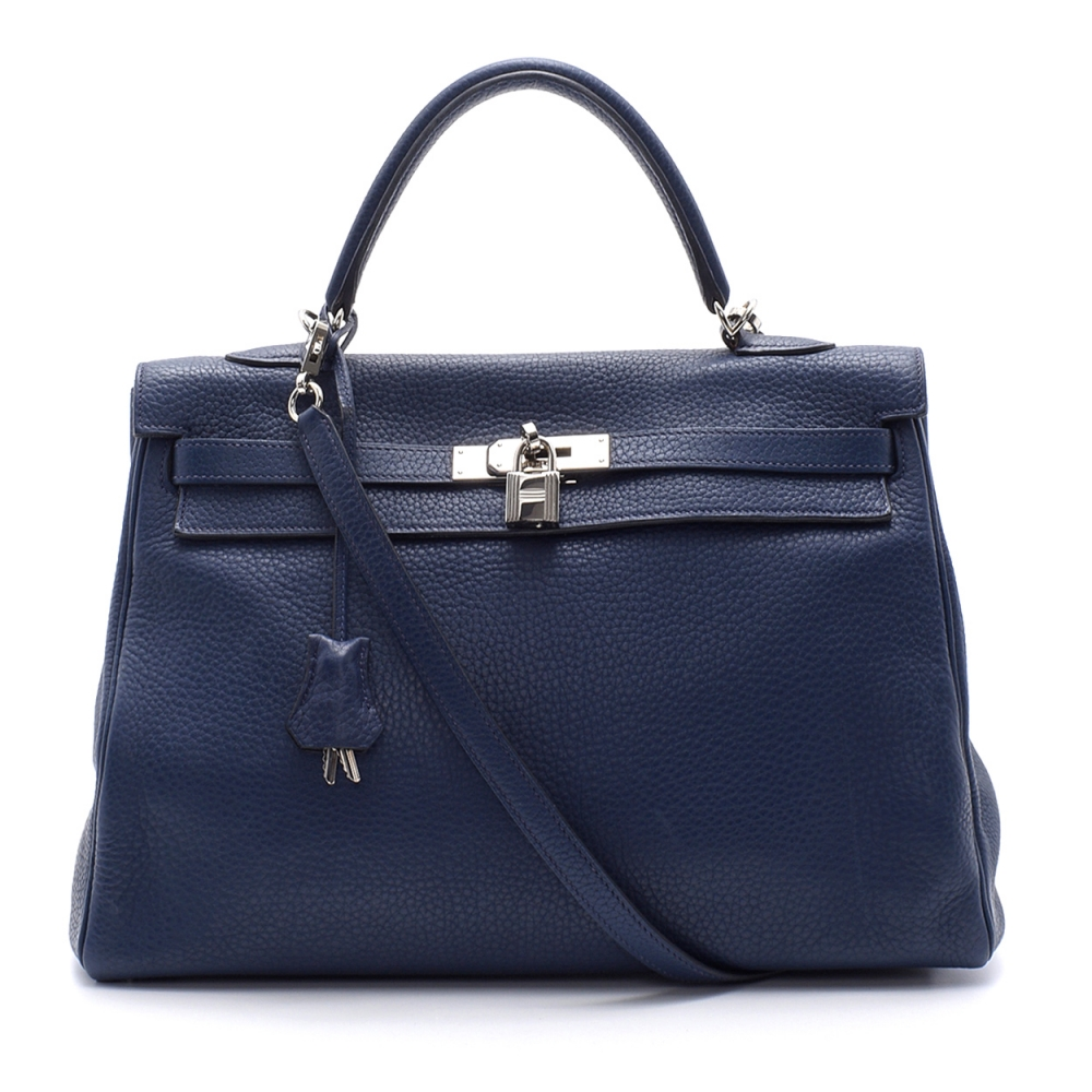 Hermes - 35cm Navy Blue Togo Leather Palladium Plated Kelly Bag