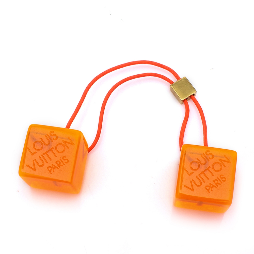 Louis Vuitton - Orange Neon Resin Cube Pony Tail Hairtie Hair Accessory