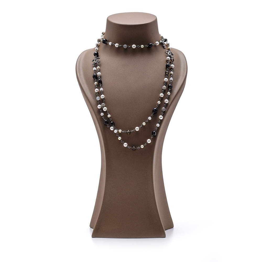 Chanel - Beads and Glass Pearl Cc Long Necklace