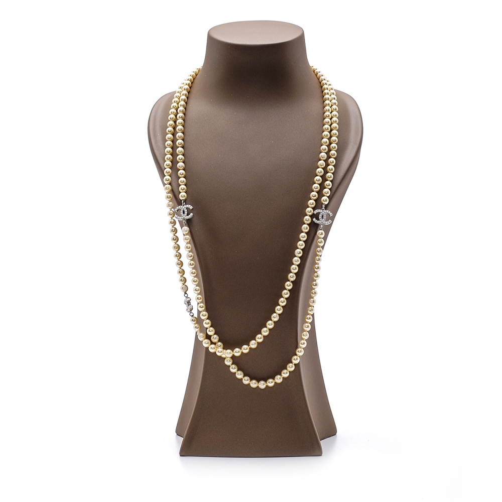 Chanel - 3 Silver Pearl Encrusted Cc Extra Long Pearl Necklace