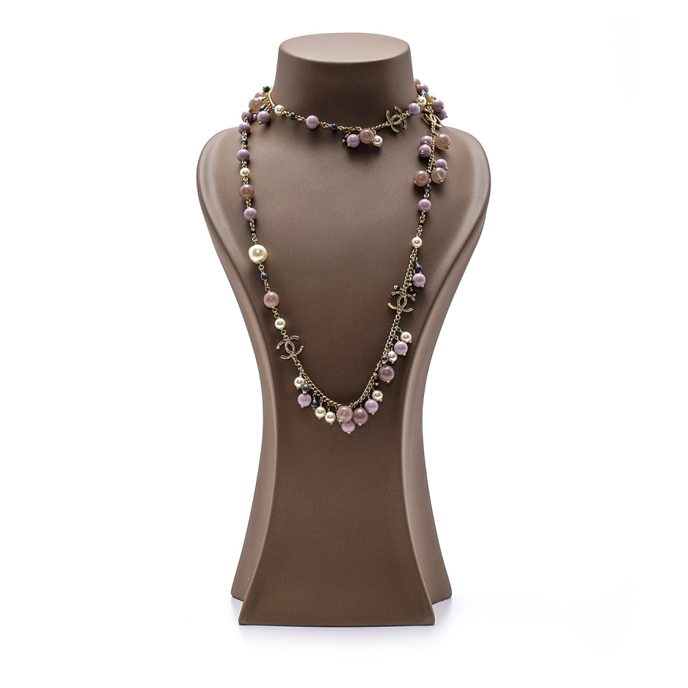 Chanel - Gold Purple Stone and Pearl Cc Necklace