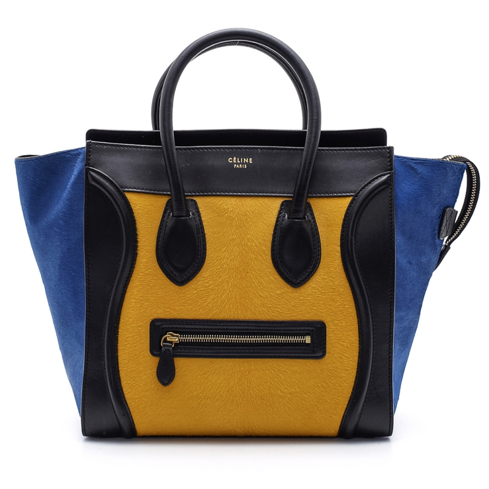 Celine - Tricolor Pony Hair and Leather Medium Luggage Tote Bag