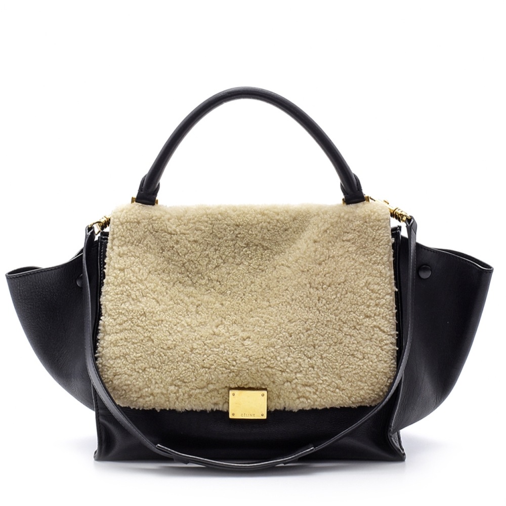 Celine -  Black Leather And Shearling Trapeze Medium Bag