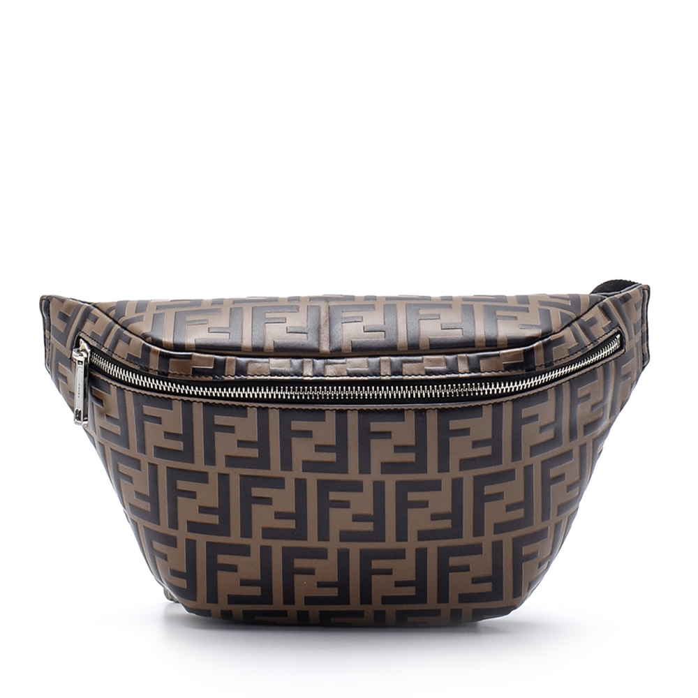 Fendi - Brown FF Logo-print Coated-canvas and Leather Belt Bag