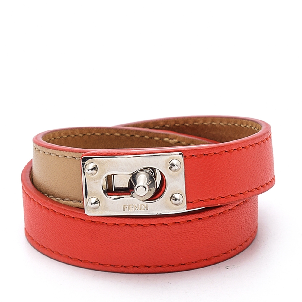 Fendi - Red/beige Lock Leather Double Wrap Bracelet