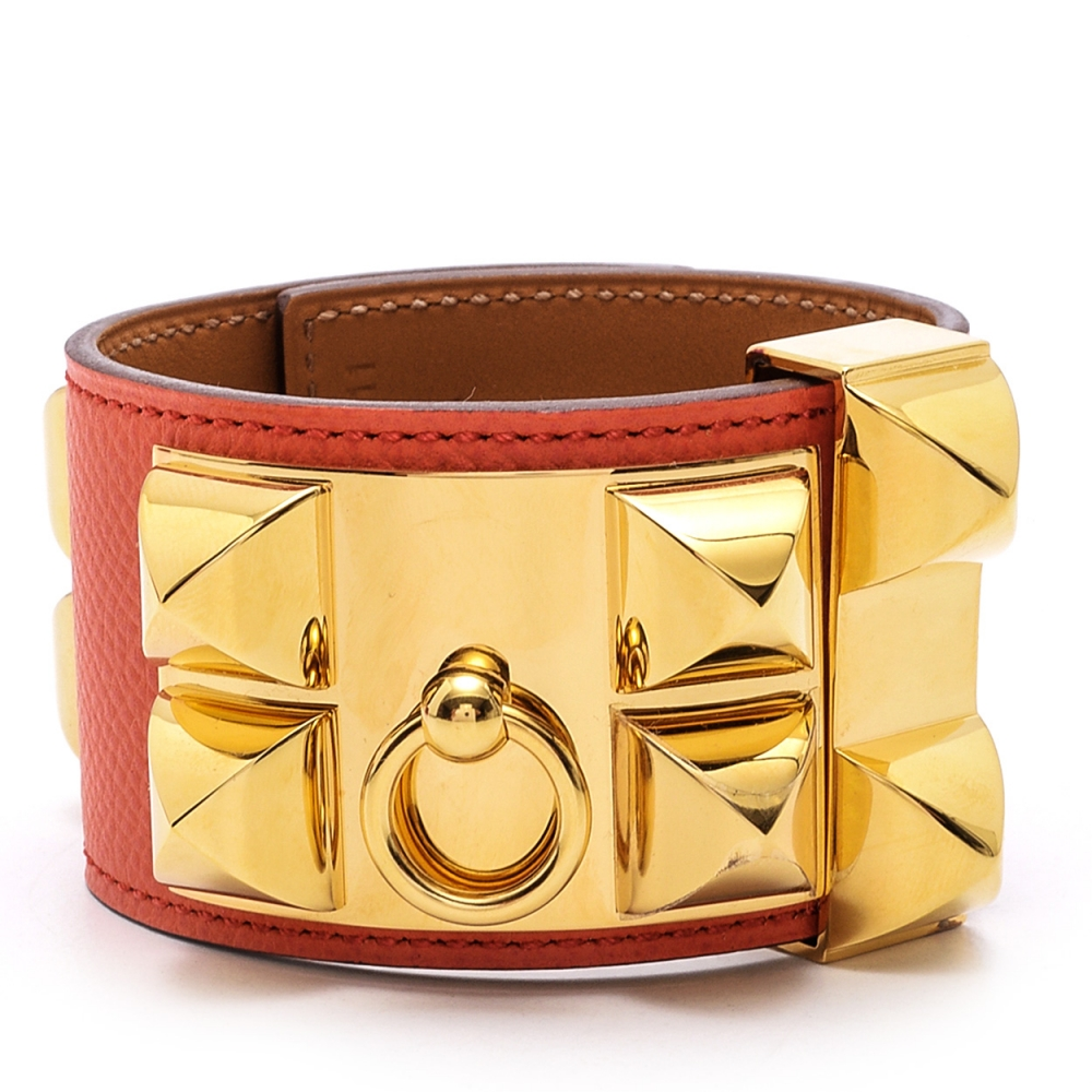 Hermes Orange  Collier De Chien Leather Bracelet