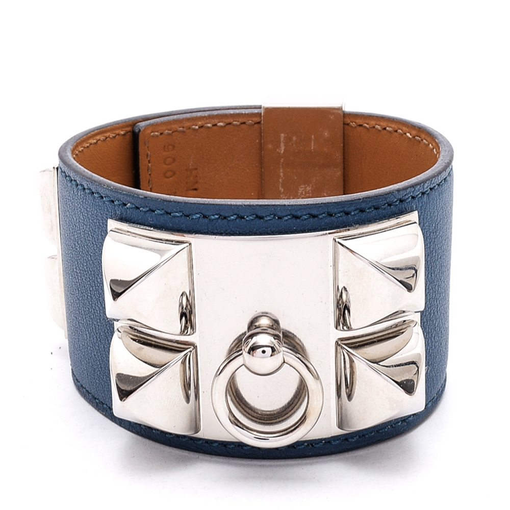 Hermes Blue  Collier De Chien Leather Bracelet