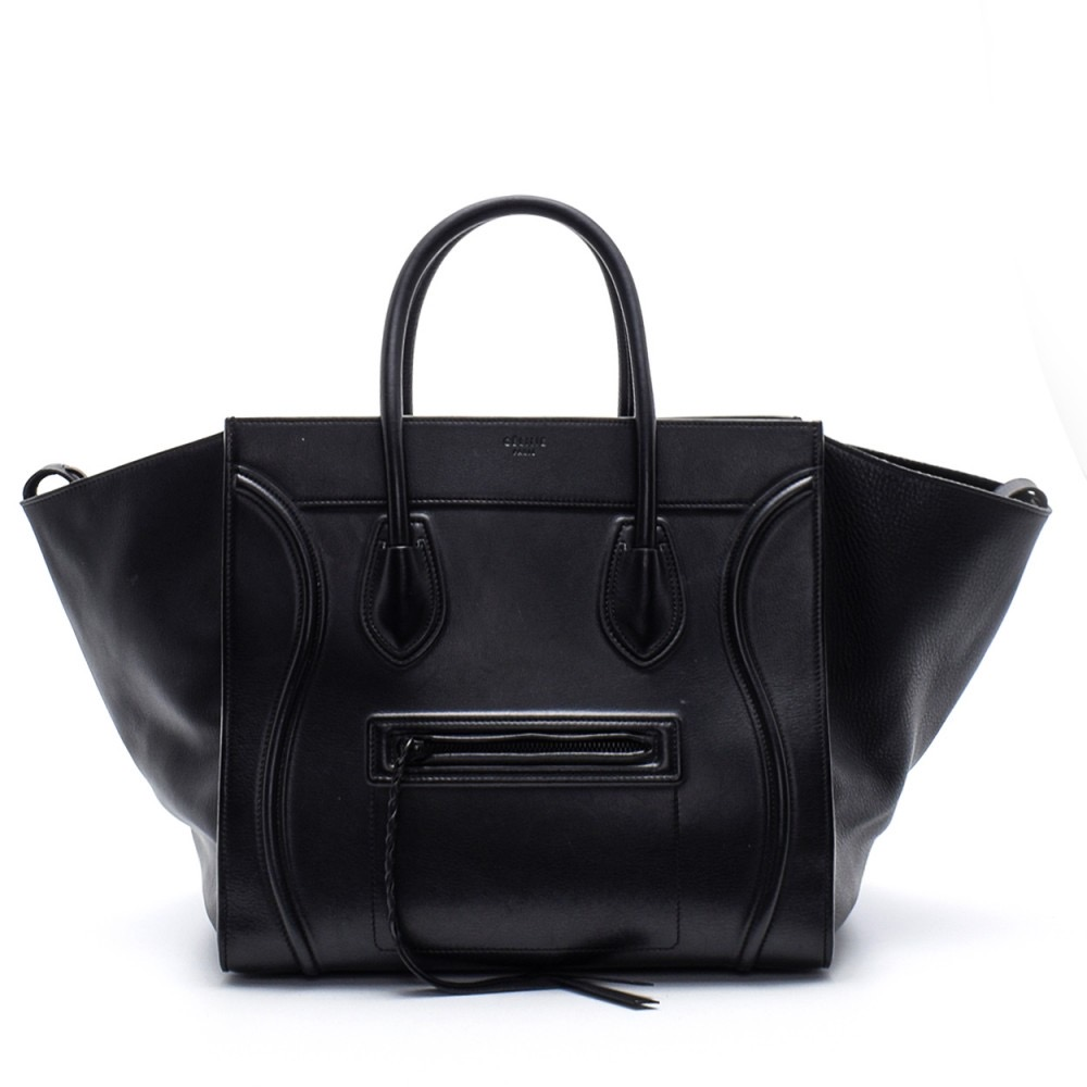Celine - Black Leather Phantom Luggage Medium Tote Bag