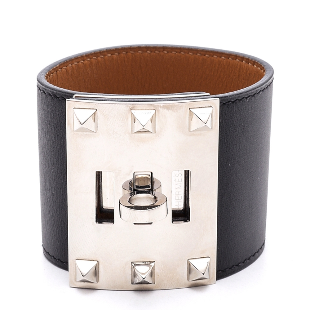 Hermes - Black Collier De Chien Leather Bracelet