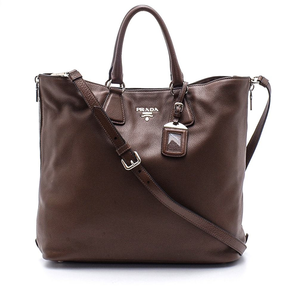 Prada - Brown Daino Vitello Leather Large Shopping Tote Bag