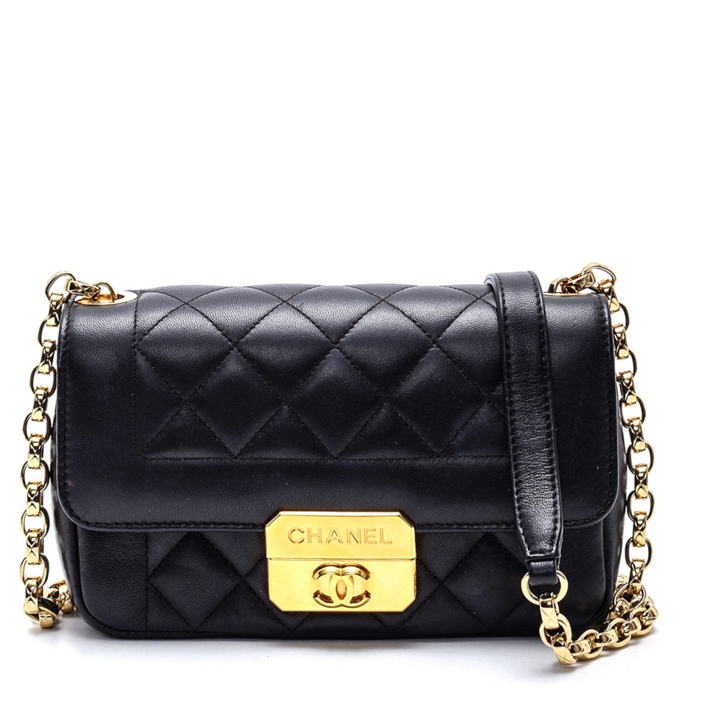 CHANEL BLACK LAMBSKIN QUILTED FLAP BAG