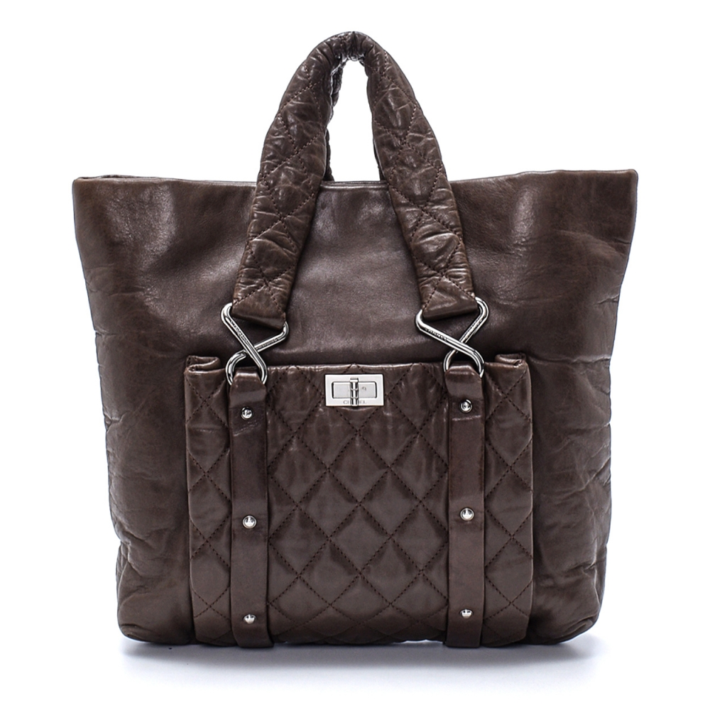 Chanel - Brown Lambskin Vintage Raissue Shopper Bag