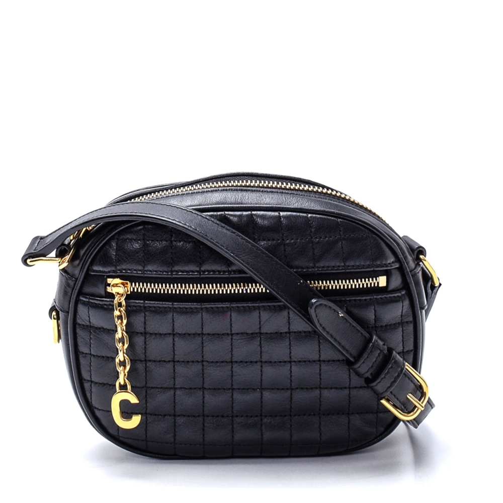 Celine - Black Calfskin Leather Quilted  Small C Charm Crossbody Bag