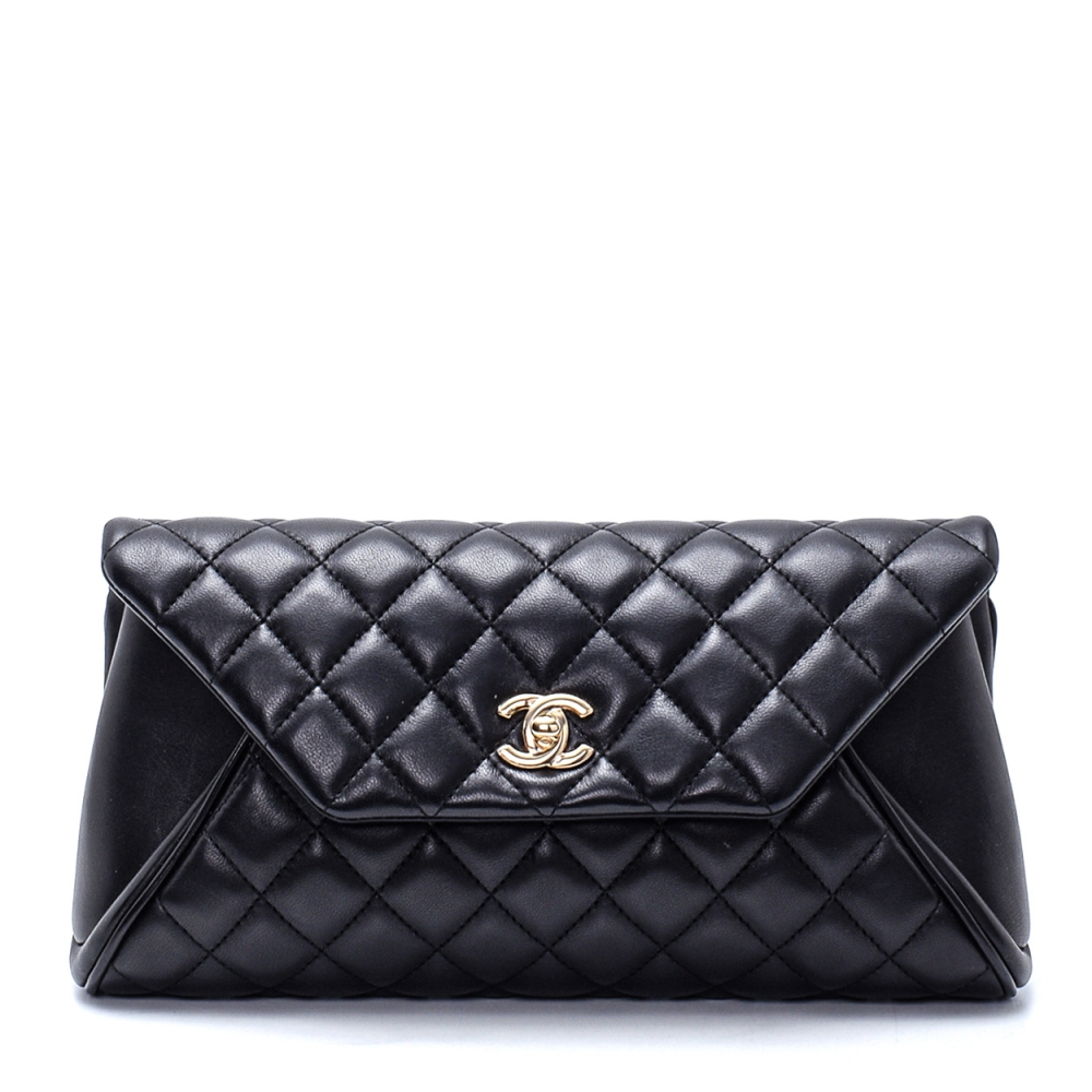 Chanel - Black Lambskin Leather Quilted Fold Up Again Clutch