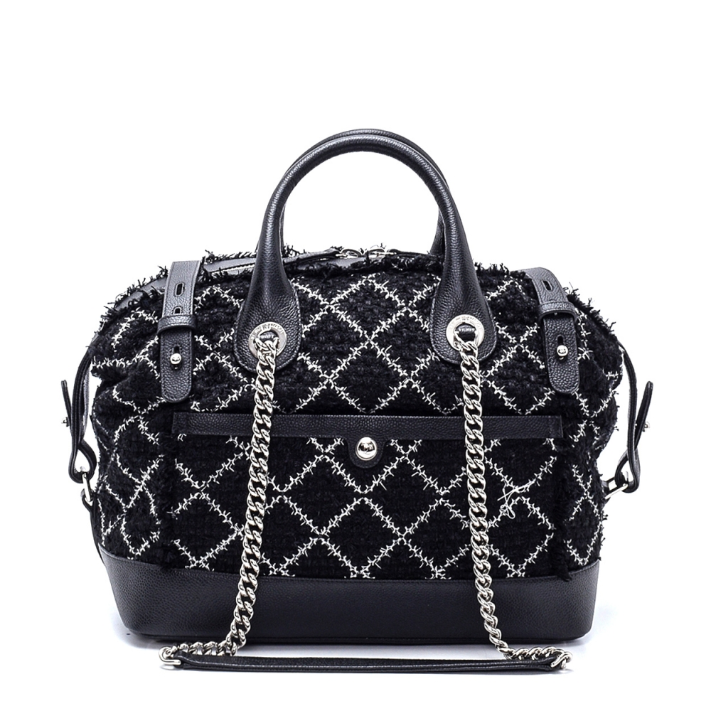 Chanel - Tweed and Leather Bowling Shoulder Bag