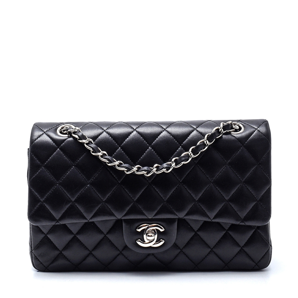 Chanel - Black Lambskin Leather Quilted Medium 2.55 Double Flap Bag